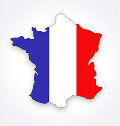 France map simplified with french flag vector