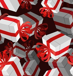 Gift 3D background Festive white box and red bow vector image