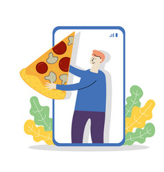 Girl holds pizza in phone vector