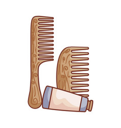 Hair combs wooden with tube bottle vector