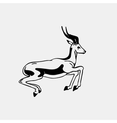 Hand-drawn pencil graphics antelope roe engraving vector