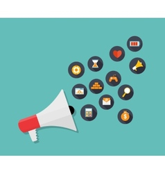 Hand holding Megaphone with Icon Set vector