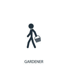 Human with basket icon simple gardening element vector
