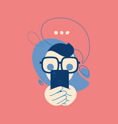 icon talking on phone a man with a bubbles vector image