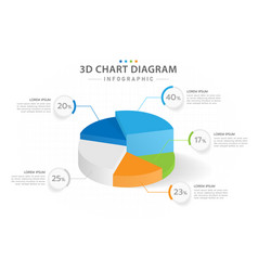 infographic 5 steps 3d pie chart diagram vector image