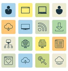 Internet icons set with favorite monitor desktop vector