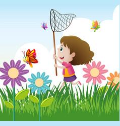 Little girl catching butterflies in garden vector