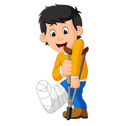 little man with broken leg vector image