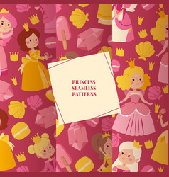 little princess girls in evening gowns set vector image