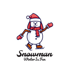 logo snowman cute cartoon style vector image