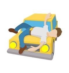 Man hit a car icon cartoon style vector