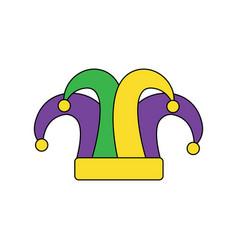 Mardi gras jester hat decoration design vector