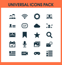 Media icons set with questionnaire gif sticker vector
