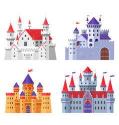 medieval fort castle set vector image