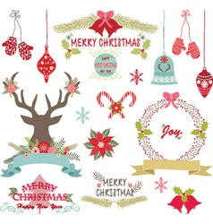 Merry ChristmasChristmas FlowersRustic Christmas vector