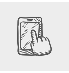 Mobile phone sketch icon vector image