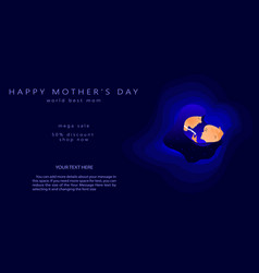 mothers day greeting banner abstract cut shape o vector image