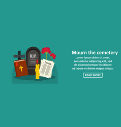 mourn the cemetery banner horizontal concept vector image