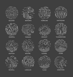 Natural disaster icons collection vector