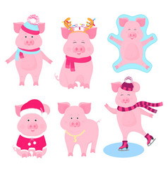 new year s set of cute pigs characters santa vector image