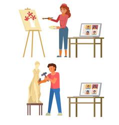 Online art masterclass flat style design vector