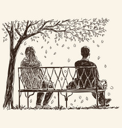 Pair on bench vector