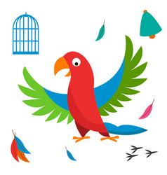 Parrot bird cell wild animal vector