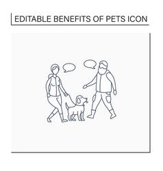 Pets benefits line icon vector