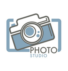 Photo studio camera with glass lens in frame vector