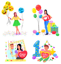 photozone for girls and couples birthday party vector image