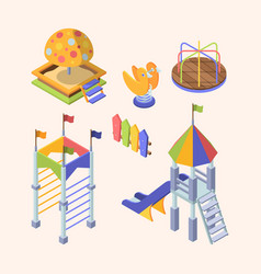 playground rides isometric set colorful slippers vector image