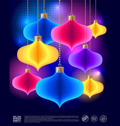 Poster disco new year colored decoration vector