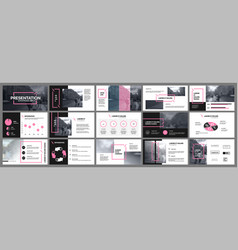 Presentation template pink elements for slide vector