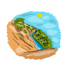 river and red sands sketch for your design vector image