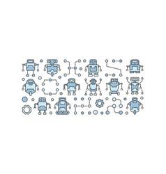 Robots horizontal banner on white vector