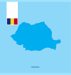 Romania country map with flag over blue background vector