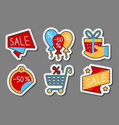 Sale icon sticker set clearance flat style badge vector