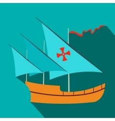 Santa Maria sailing ship icon flat style vector