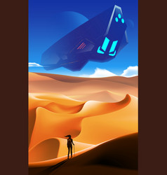Science imagery desert with spaceship vector