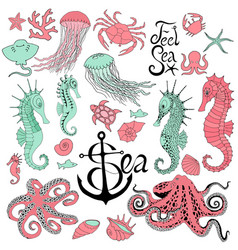 seahorses with jellyfish octopus crab and other vector image