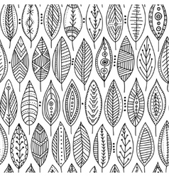 Seamless pattern with ornamental leaves vector