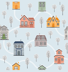 Seamless pattern with winter houses and vector