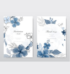 Set beautiful blue watercolor florals card vector