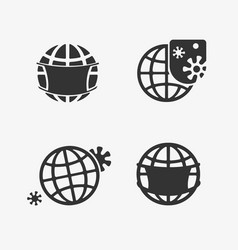 set icons in planet pandemics vector image