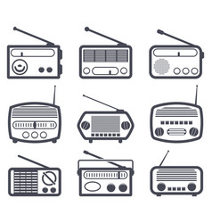 set of black and white radio icons vector image