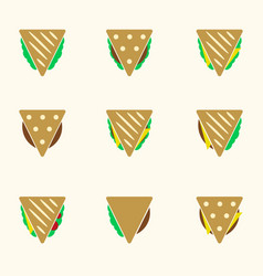 set of color tortilla or sandwich tacos food vector image