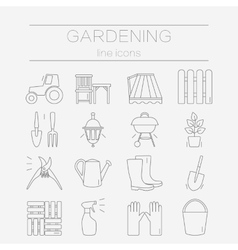 Set of flat design icons for gardening vector image