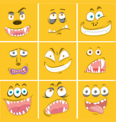 Set of yellow monster facial expression vector