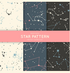 Set seamless star pattern vector