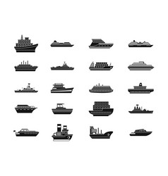 Ship icon set simple style vector
